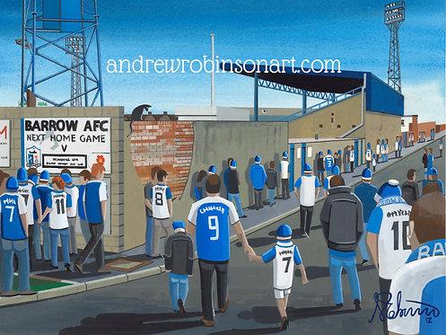Barrow A.F.C Holker Street Stadium Framed High Quality Art Prin