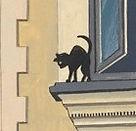 Puppo Cat. trademark of artist andrew robinson. Black cat