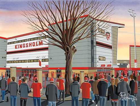 Gloucester Rugby, Kingsholm Stadium. Framed High Quality Art Print