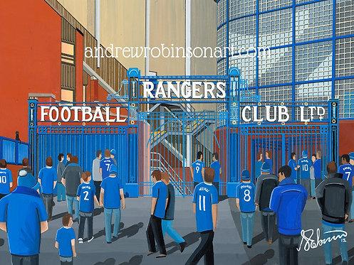 Rangers F.C, Ibrox Stadium High Quality framed Giclee Art Print