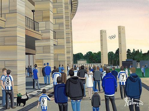 Hertha BSC, Olympiastadion. Framed High Quality Art Print