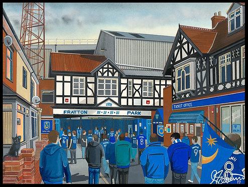 Portsmouth F.C, Fratton Park Stadium High Quality framed Giclee Art Print