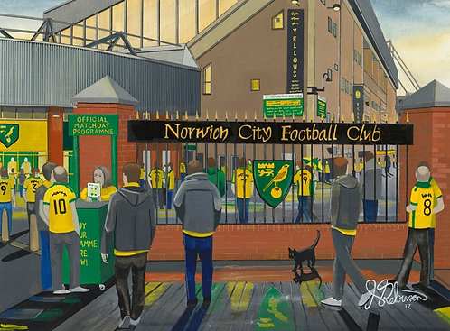 Norwich City F.C, Stadium High Quality Framed Giclee Art Print