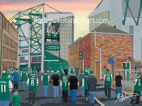 Hibernian F.C, Easter Road Stadium High Quality Framed Giclee Art Print
