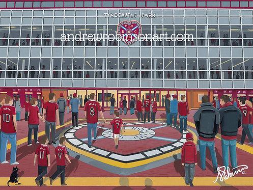 Heart of Midlothian F.C, Tynecastle Stadium High Quality framed Giclee Art Print