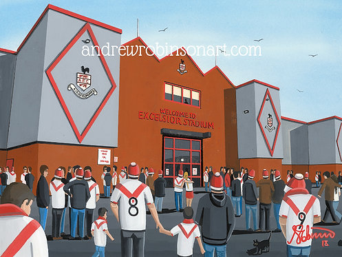 Airdrieonians F.C, Excelsior Stadium Framed High Quality Art Print