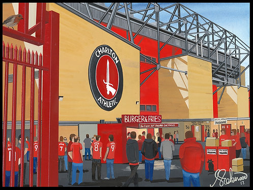 Charlton Athletic F.C, The Valley Stadium High Quality framed Giclee Art Print