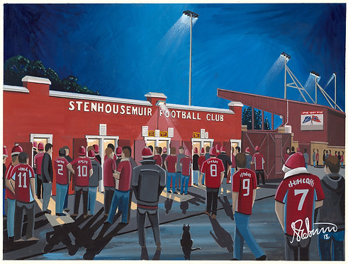 Stenhousemuir F.C, Ochilview Park Stadium. Framed High Quality Art P