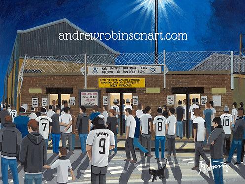 Ayr United F.C Somerset Park Stadium Framed High Quality Art Print