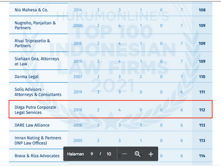 DPCLS is listed in Hukum Online's Indonesian Law Firms 2021