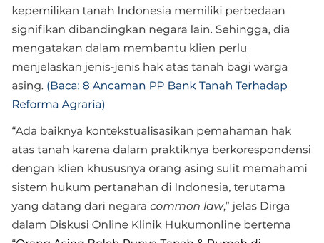 DPCLS' Partner Mentioned in Hukum Online's Article re Foreign Land Ownership