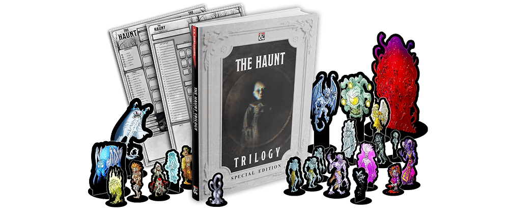 the haunt book with scary doll and minatures