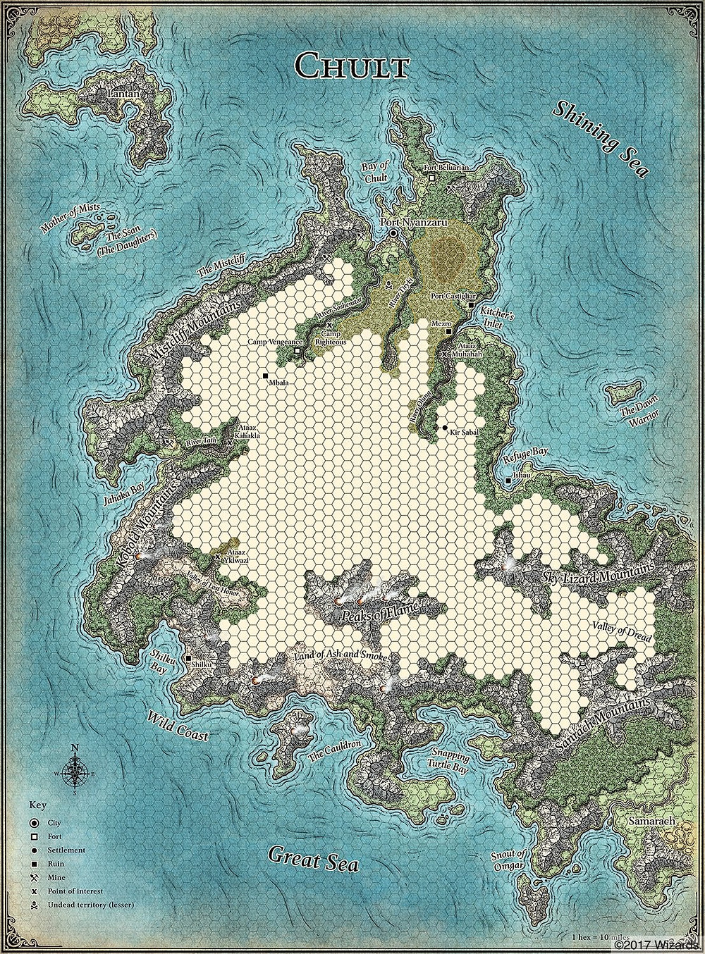 Hexmap Dungeons & Dragons rpg world map Tomb of Annihilation Chult