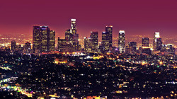 Night time view of downtown LA