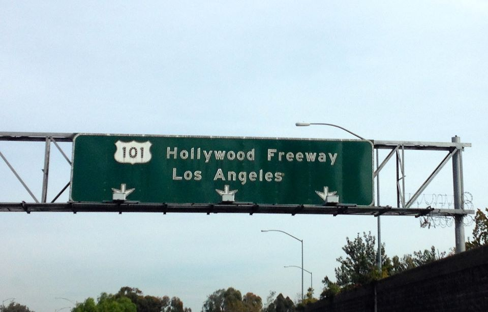 The Hollywood freeway 101 sign