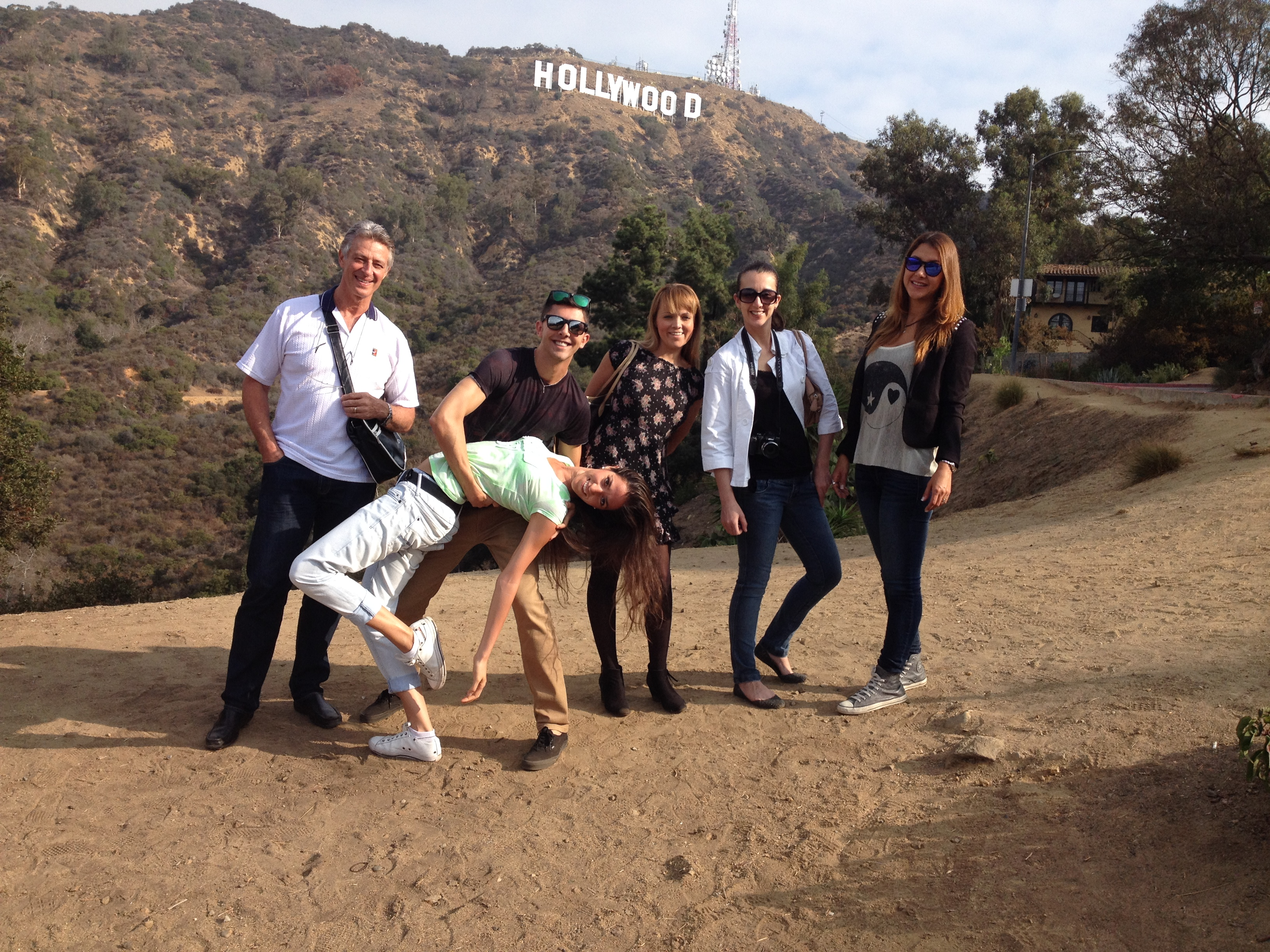 Silly posing at Hollywood Sign
