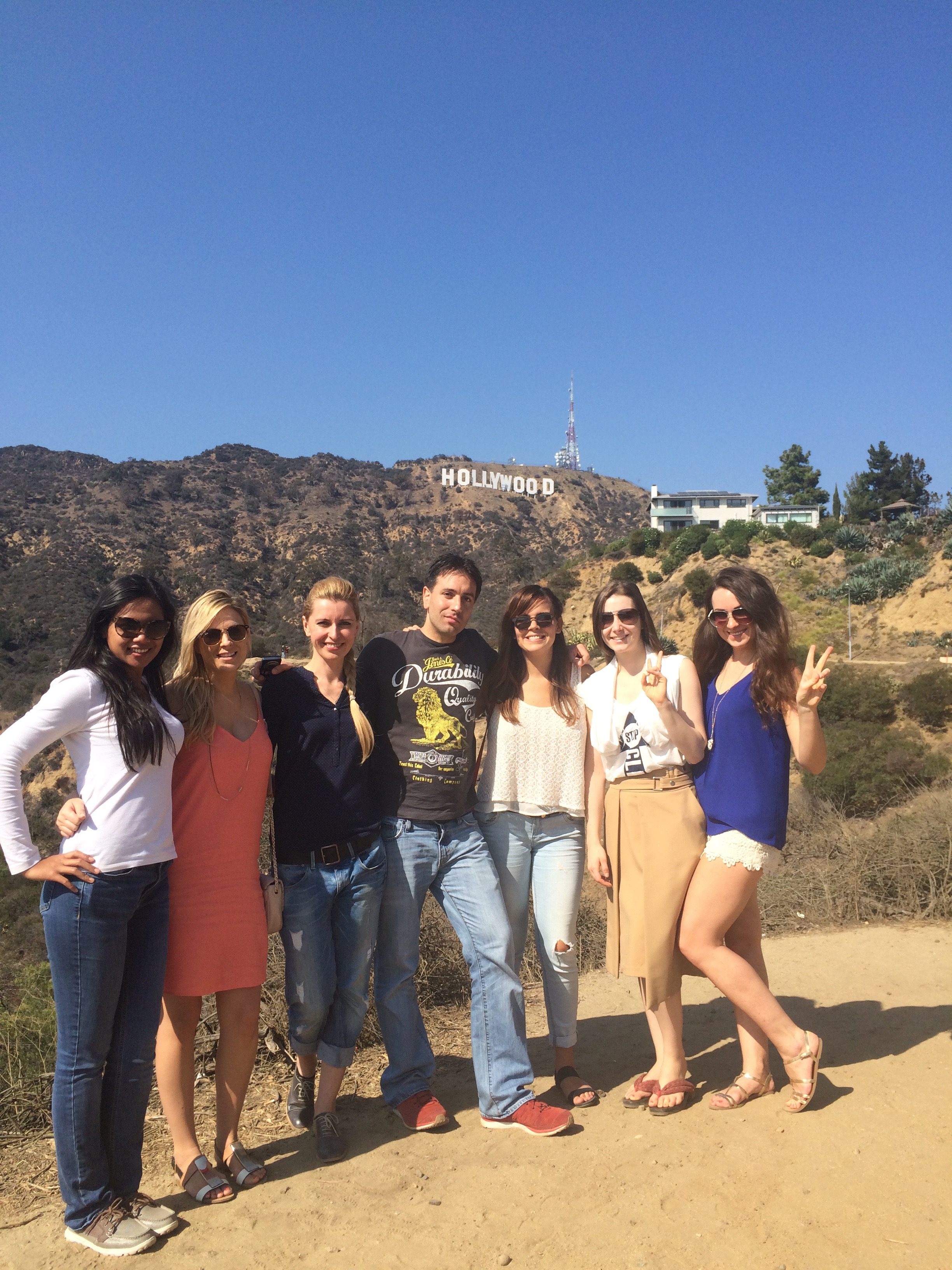 Excited group with Hollywood Sign