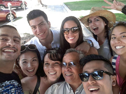 Tour group takes selfie with guide