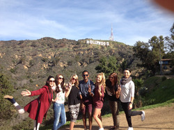 Friends happy near Hollywood Sign