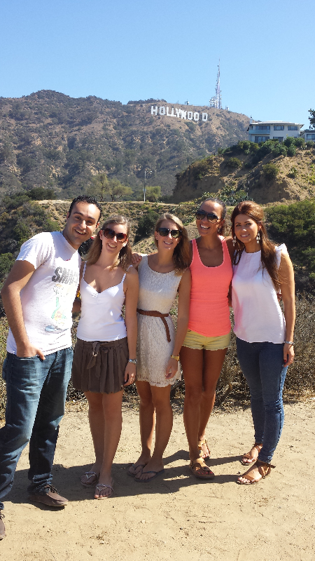 Happy friends at Hollywood Sign