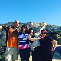 Happy family at Hollywood Sign