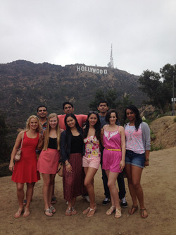 Friends with Hollywood Sign in back