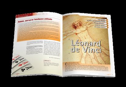 """Mise en pages pour le magazine Tangente - Ouverture du dossier """"Léonard de Vinci"""""""