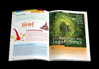 """Mise en pages pour le magazine Tangente - Ouverture du dossier """"Les merveilles des logarithmes"""""""