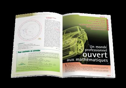 """Mise en pages pour le magazine Tangente - Ouverture du dossier """"ouvert aux mathématiques"""""""