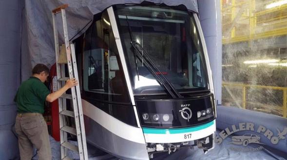 cabine de peinture gonflable train métro