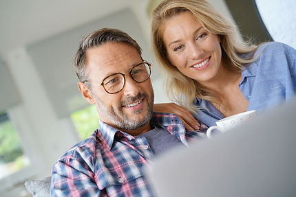 Mature couple connected on internet with