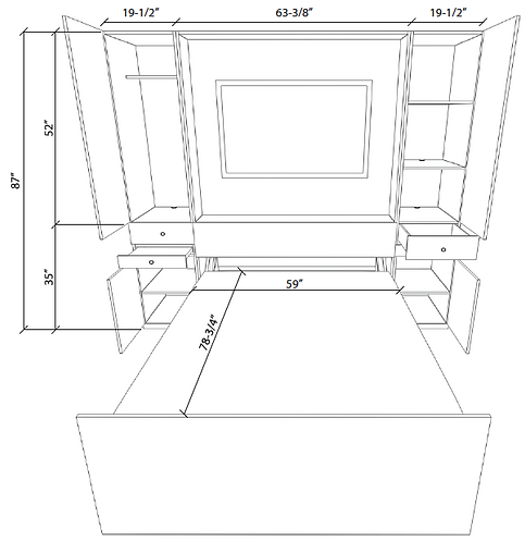 Zoom-Room Murphy Bed Standard Cabinet specifications