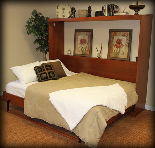 Traditional horizontal Murphy bed open Creekside