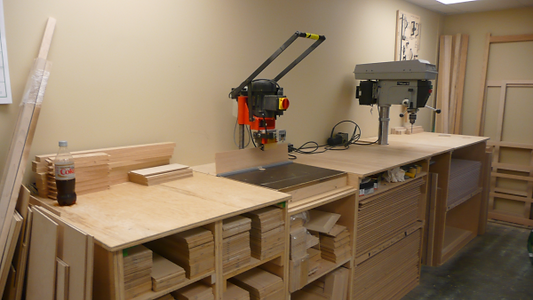 Woodworking machines in the Murphy bed factory