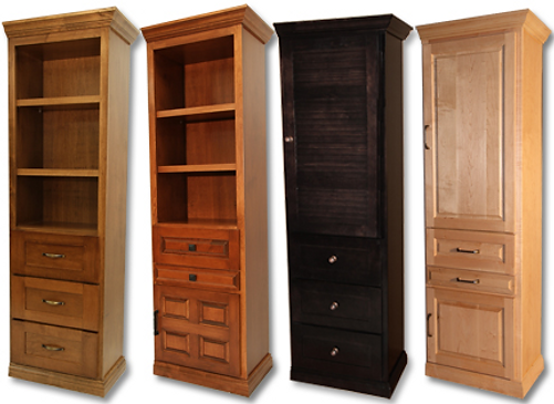Horizontal Murphy bed side cabinets