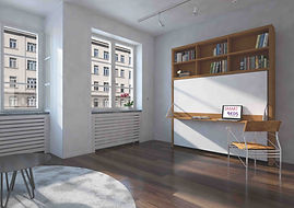 Dotto Queen Murphy Bed Desk w_Bookshelve
