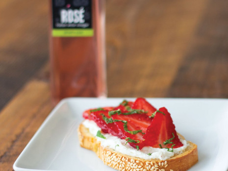 Strawberry Rose Toast with Whipped Honey Goat Cheese