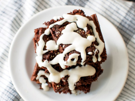 Hatch Chili Brownies with Cream Cheese Drizzle