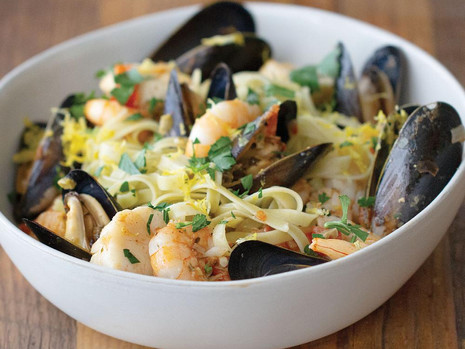 Seafood Medley Pasta with Spinach and Olive Fettuccine
