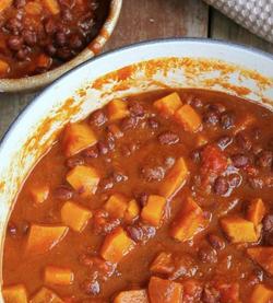 chunky sweet potato and mixed bean chilli