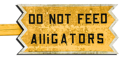 do not feed the alligators bayou swamp sign south
