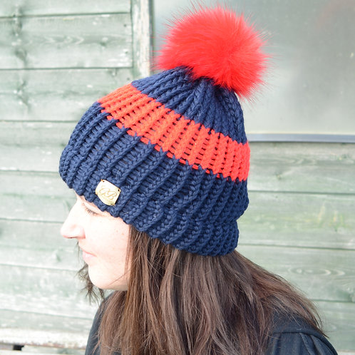 Hand Knitted Pom Pom Hats