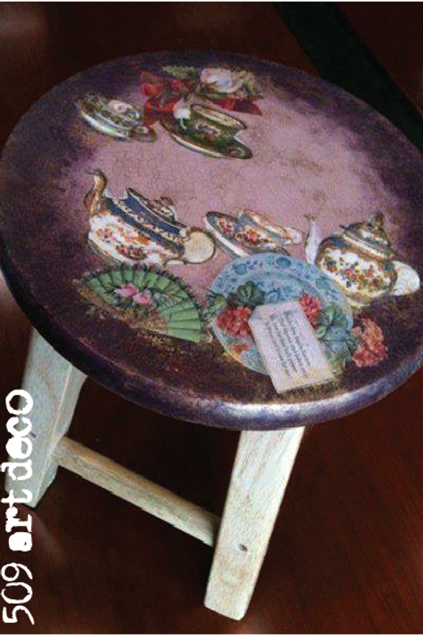 Decoupage Wooden Stool | FREE BOOKING