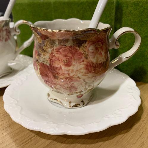 Porcelain Art Tea Cup Set | 白瓷貼歐式下午茶杯碟一套