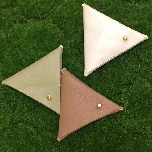 Leather Triangle Coins Bag | 三角真皮硬幣錢包