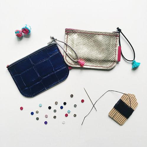Leather Coins Bag Materials Set | 硬幣錢包手工材料套裝