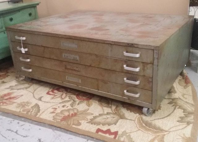 #industrialstyle 4 drawer #steel #coffeetable $525 at the Rumor Mill Market
