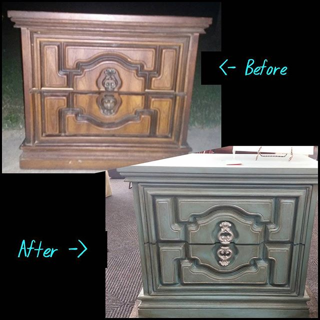 What a transformation! $25 end table from _ourtownsrestore #Mooresville with a little #furniturereha