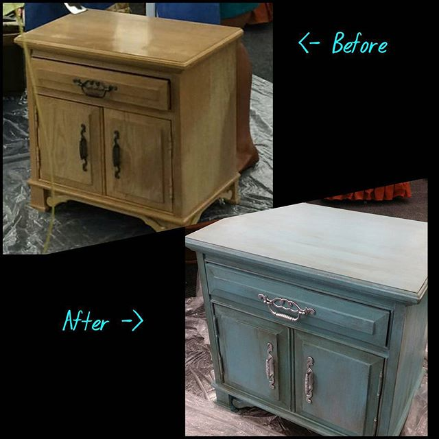 Here's the #beforeandafter of the #endtable straight off the sales floor at _ourtownsrestore #Moores