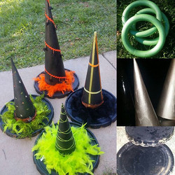 #diy witch hat ring toss for Noah's class #halloween party, with some help from my finds _ourtownsre